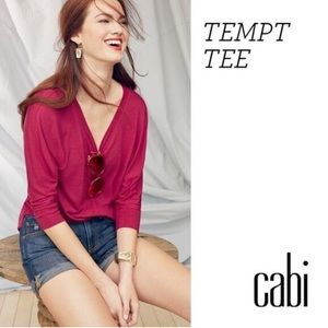 CAbi Tempt Tee 3/4 Sleeve Pink V-Neck